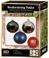 182 stuks kerstballen mix zilver grijs donkerblauw voor 210 cm b