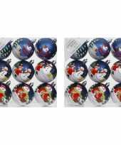 18x blauwe kerstballen 6 cm kunststof met print
