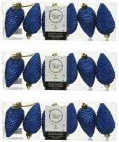 18x kobalt blauwe dennenappels kersthangers 8 cm kunststof glitte