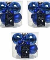 18x kobalt blauwe glazen kerstballen 8 cm glans en mat