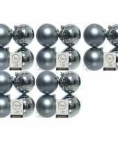 20x grijsblauwe kerstballen 10 cm kunststof mat glans