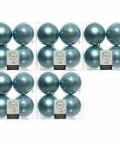 20x ijsblauwe kerstballen 10 cm kunststof mat glans