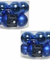 20x kobalt blauwe glazen kerstballen 6 cm glans en mat