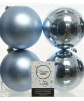 20x lichtblauwe kerstballen 10 cm kunststof mat glans