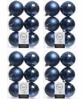 24x donkerblauwe kerstballen 8 cm kunststof mat glans