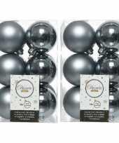 24x grijsblauwe kerstballen 6 cm kunststof mat glans