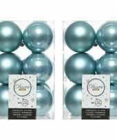 24x ijsblauwe kerstballen 6 cm kunststof mat glans