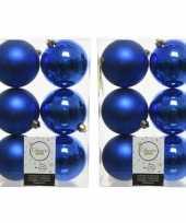 24x kobalt blauwe kerstballen 8 cm kunststof mat glans
