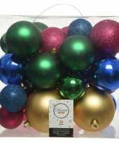 26 stuks kunststof gekleurde mix kerstballen 6 8 10 cm
