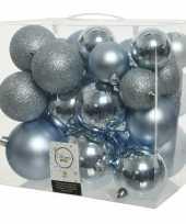 26 stuks lichtblauwe kerstballen 6 8 10 cm kunststof