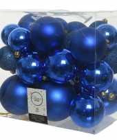 26x stuks kobalt blauwe kerstballen 6 8 10 cm kunststof