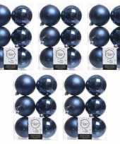 30x donkerblauwe kerstballen 8 cm kunststof mat glans