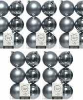 30x grijsblauwe kerstballen 8 cm kunststof mat glans