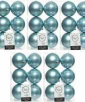 30x ijsblauwe kerstballen 8 cm kunststof mat glans