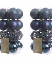 32x donkerblauwe kerstballen 6 cm kunststof mix