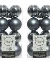 32x grijsblauwe kerstballen 4 cm kunststof mat glans