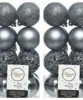 32x grijsblauwe kerstballen 6 cm kunststof mix