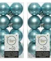 32x ijsblauwe kerstballen 4 cm kunststof mat glans