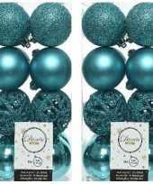 32x turquoise blauwe kerstballen 6 cm kunststof mix