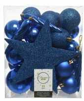 33x kobalt blauwe kerstballen met ster piek 5 6 8 cm kunststof m