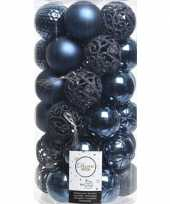 37x donkerblauwe kerstballen 6 cm kunststof mix