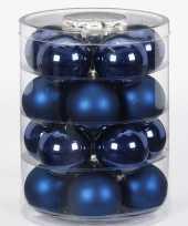 40x donkerblauwe glazen kerstballen 6 cm glans en mat