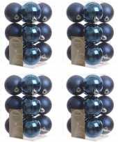 48x donkerblauwe kerstballen 6 cm kunststof mat glans
