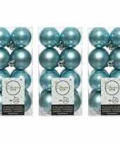 48x ijsblauwe kerstballen 4 cm kunststof mat glans