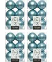 48x ijsblauwe kerstballen 6 cm kunststof mat glans