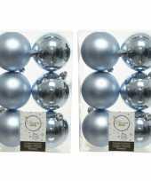 48x lichtblauwe kerstballen 8 cm kunststof mat glans