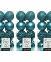 48x turquoise blauwe kerstballen 6 cm kunststof mix