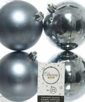 4x grijsblauwe kerstballen 10 cm kunststof mat glans