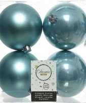 4x ijsblauwe kerstballen 10 cm kunststof mat glans
