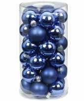 60x blauwe kleine glazen kerstballen 4 cm glans en mat