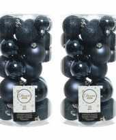60x donkerblauwe kerstballen 4 5 6 cm kunststof