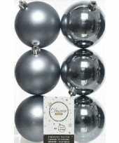 6x grijsblauwe kerstballen 8 cm kunststof mat glans