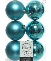 6x turquoise blauwe kerstballen 8 cm kunststof mat glans