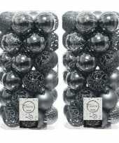 74x grijsblauwe kerstballen 6 cm kunststof mix