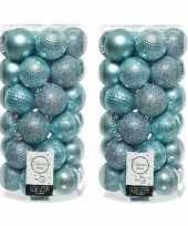 74x ijsblauwe kerstballen 6 cm kunststof mix