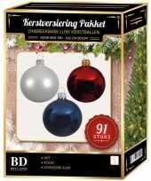 91 stuks kerstballen mix wit donkerblauw rood voor 150 cm boom
