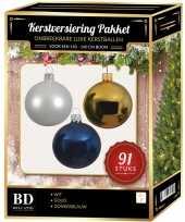 91 stuks kerstballen mix wit goud donkerblauw voor 150 cm boom