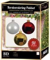 91 stuks kerstballen mix wit goud kerst rood voor 150 cm boom