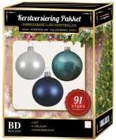 91 stuks kerstballen mix wit ijsblauw blauw voor 150 cm boom