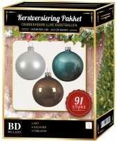 91 stuks kerstballen mix wit ijsblauw kasjmier voor 150 cm boom