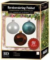 91 stuks kerstballen mix wit ijsblauw mahonie voor 150 cm boom