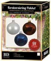 91 stuks kerstballen mix wit mahonie donkerblauw voor 150cm boom