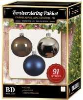 91 stuks kerstballen mix zilver blauw kasjmier voor 150 cm boom