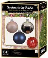 91 stuks kerstballen mix zilver blauw lichtroze voor 150 cm boom