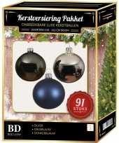 91 stuks kerstballen mix zilver grijsblauw blauw voor 150cm boom