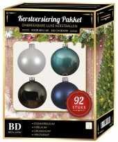 92 stuks kerstballen mix wit grijs blauw voor 150 cm boom